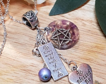 Amethyst Wiccan Blessed Be Pendant