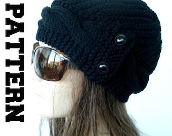 Digital  Hat Knitting PATTERN PDF  Instant Download Knit hat pattern diy christmas Cable Knit hat  Pattern  Cloche Hat Knit Pattern