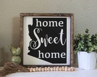 home sweet home, Arizona. 13.5x13.5 distressed wood sign, black and white sign, gallery wall sign, Arizona sign, state sign, home sweet home