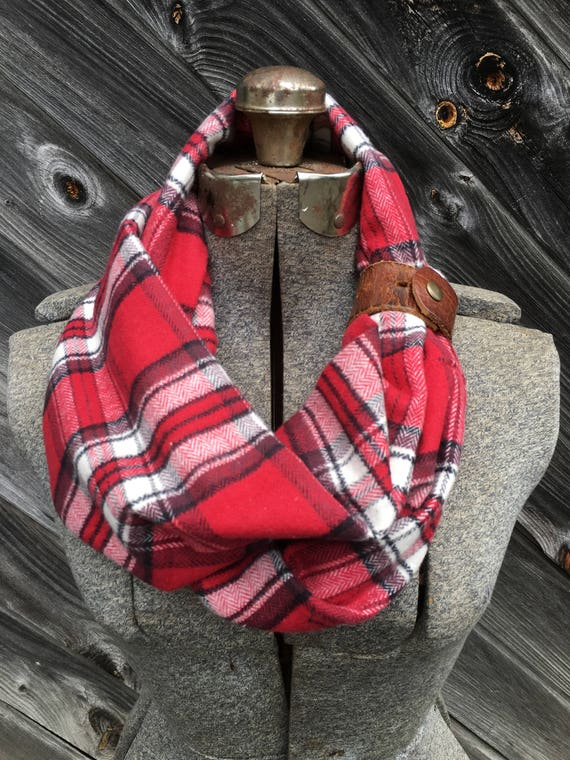 Red and White plaid flannel eternity scarf with a brown leather cuff - soft, trendy