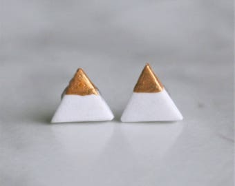 White & Gold Triangle Spring Stud Earrings - Simple - Hypoallergenic Post Earrings - Surgical Steel - 8mm  - Geometric Every Day Earrings