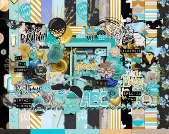 Birthday boy digital scrapbooking kit, Scrapbooking embellishments, Birthday boy scrapbook kit, Birthday boy scrapbook papers