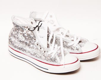 Ready to Ship - WMNS Size 11 Silver Tiny Sequin Converse Hi Top Sneakers  Shoes