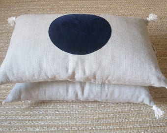 """Pillow cover decorative """"Dalilafee"""", """"No!"""" collection, ultramarine blue and natural linen color"""