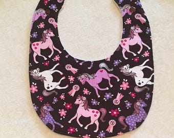 Baby, Toddler, Feeding Bib for Dinner, Dining in Pink, Purple Pony, Horse Print