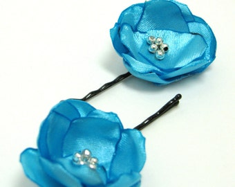 Something blue satin fabric flower hair pin