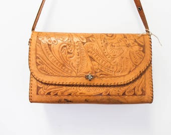 Extra large vintage tooled leather purse