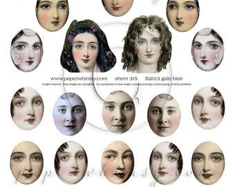 PaperWhimsy Digital Download Collage Sheet Pretty Faces ATC ACEO Backgrounds Collage Art Sheet 315