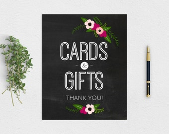 """Blackboard Rustic """"Cards & Gifts"""" Sign - Printable Instant Download 8x10"""""""