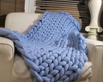 Super Chunky blanket 100% Pure Merino Wool Blanket Handmade Throw blue Extreme knitting chunky knit blanket super bulky throw wool ethical