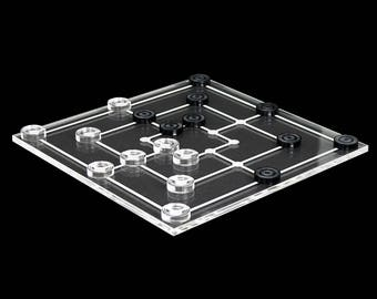 Mini mill game 19tlg. transparent acrylic clear and gray, Board laser engraved