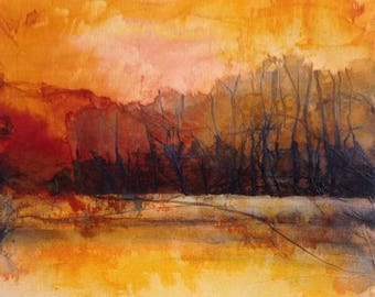 Autumn landscape, trees and water reflection, original painting ink and collage on canvas. Big trees in autumn - contemporary art
