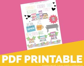Community Printable, Digital Bible Journaling, Margin Stickers, Bookmarks, Sticker Printable