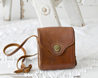 old leather camera case