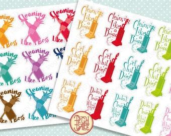 Cleaning Planner Stickers | Chores  | Vacuum | Like A Boss | Erin Condren Life Planner | Kikki K | Filofax | PD051