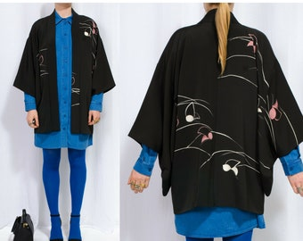 haori kimono jacket silk robe japan boho fabric silk hippie caftan kaftan vintage black bride bridesmaids robes festival clothing
