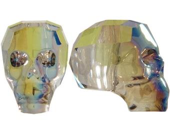 5750 IRIDESCENT GREEN 13mm Swarovski Crystal Skull Bead, Special Effects Skeleton Skull Bead
