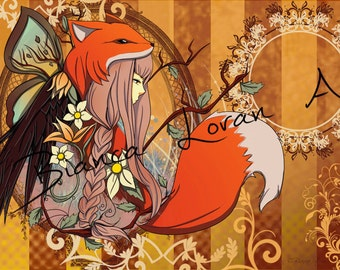 "One With Nature Art Print - 8""x10"" or 11x14"" - original anime manga foxgirl art - Bianca Loran Art"