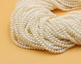 4-5 mm white round freshwater pearls, white round pearl,15'' full strand, round pearl strands, pearl wholesale