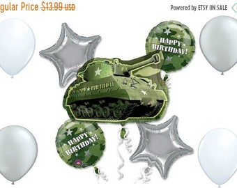 ON SALE 9 pc Army Military Gamouflage Tank Balloon Bouquet Party Decor Centerpiece
