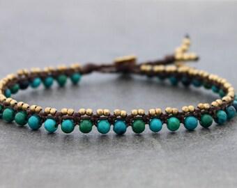 Chrysocolla Anklets Woven Beaded Stone Brass Boho Macrame Hippy