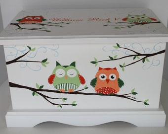 Baby Keepsake Box Chest Memory Box Orange and Green Owls personalized baby shower gift hand painted