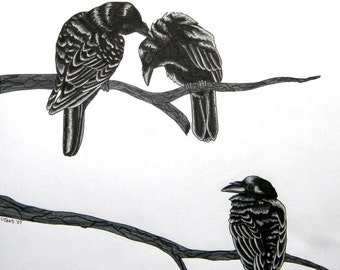 Three For A Wedding - Raven Poem - Archival Art Print