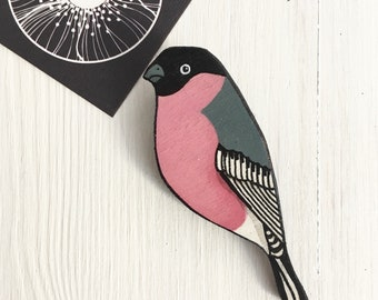 Wooden Brooch Bullfinch