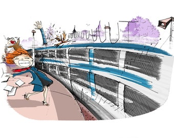Laser print of humour illustration.Indictment against transit. A4 200g