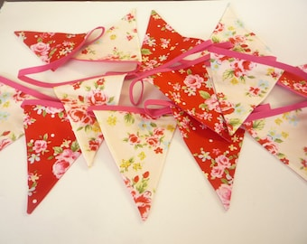 Handmade Shabby chic Floral Bunting 3mt long  13 Flags