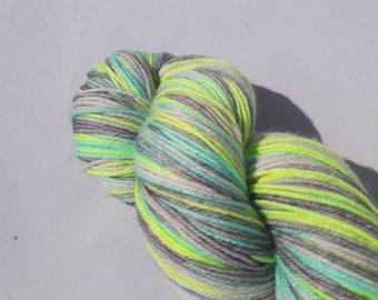 Hand dyed self-striping sock yarn 100g Gamma radiation colourway