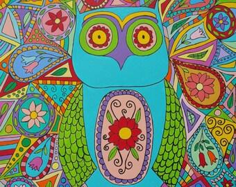 Kerri Ambrosino Art NEEDLEPOINT Mexican Folk Art Owl Paisley Flowers