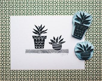 Two Little Cactuses - Original Handprint