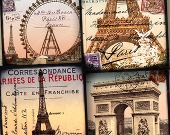 Vintage Paris France Digital Collage Sheet in Large 4x4 Inch Squares French Eiffel Tower Travel for Coasters Greeting Cards piddix 958