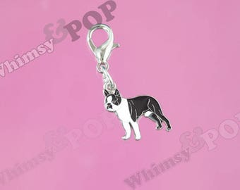 1 - Mini Boston Terrier Dog Enamel Charm, Dog Charm, Boston Terrier Charm, 18mm x 14mm (5-6E)