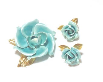 Vintage Pale Blue Flower Pin and Clip Earrings
