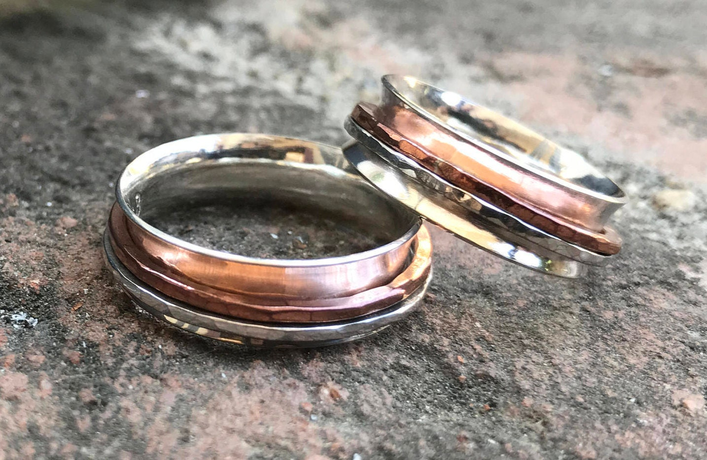 Silver Fidget Ring ~ Silver Spinner Ring with Silver and Copper ...