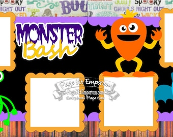 Scrapbook Page Kit Halloween Party Monster Bash Boy Girl Baby 2 page Scrapbook Layout Kit 110