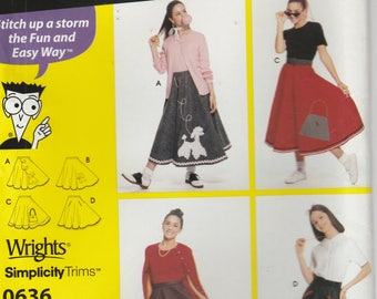 "Poodle Skirt Pattern Costume Pattern All Sizes Waist 23"" to 37""  Uncut Simplicity 0636 Sewing Patterns for Dummies"