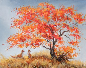 Foxes oil painting autumn tree wall art  fox family wall art impressionistic animal painting fox couple original art  fox forest painting