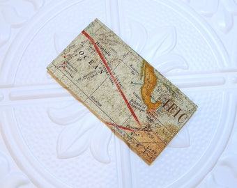 Map Fabric Checkbook Cover - Money Holder - Gifts Under 10 - Cover For Checkbook - Coupon Holder
