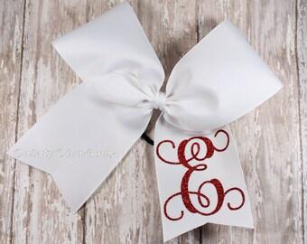 Glitter Monogram Cheer Bow, Monogram Hair Bow, Large Cheer Bow, Monogram Bow, Personalized Bow, 5 Inch Bow, Large Bow, Big Bow, Initial