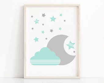 Mint Green Gray Nursery Wall Art, Moon And Stars Nursery Print, Baby Wall Art, Printable Nursery Art, Cloud Nursery Decor, Baby Art Print