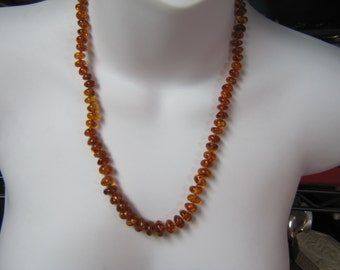 """Natural Graduated Baltic Amber Bead Necklace, Honey Amber Nugget 23"""" Necklace"""