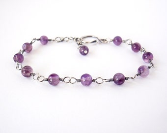 Amethyst Bracelet ~ Handcrafted with Eco-Recycled Sterling Silver ~ Natural Purple Gemstones ~ Peaceful Energy ~ Calming Crystal Magick