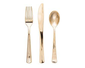 Gold Metallic Cutlery - Set of 24 - Fork, Spoon, Knife