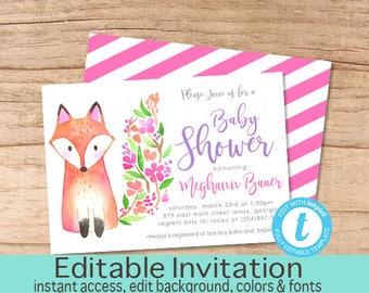 Woodland Baby Shower Invitation, Fox Woodland Animal Invitation, Editable Baby Shower invite, Girl Woodland Invitation, Instant Download