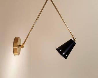 Libro • style vintage du milieu du siècle inspiré lampe de mur pour le bras réglable en laiton fait à la main personnalisé