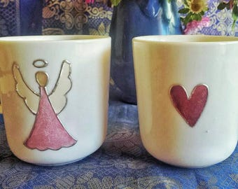 Porcelain mugs, Angel and heart