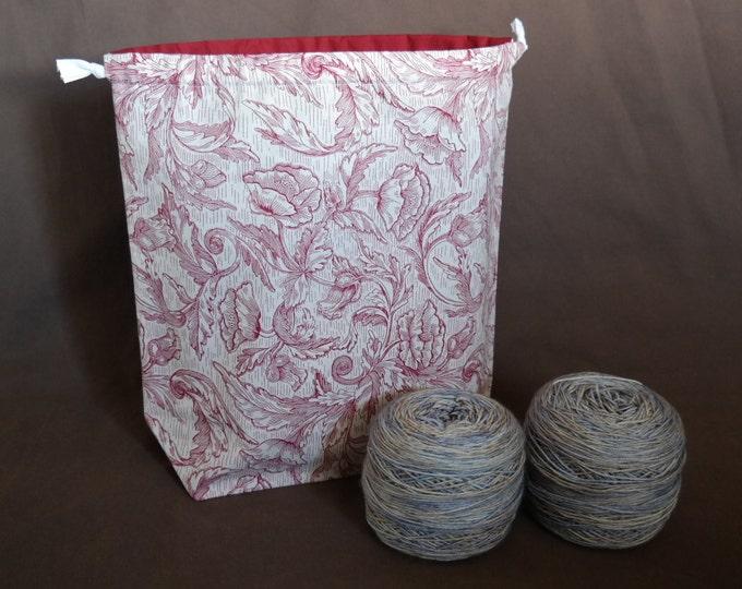 Large, Reversible, Drawstring Project bag